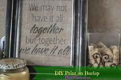 For today's crafty tutorial, we are going to show you How to Print on Burlap.  There are several different ways you can print on Burlap, but for today's tutorial we are going to print the easy way....