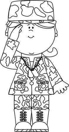 Black & White Military Girl Saluting Clip Art - Black & White Military Girl Saluting Image