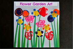 Flower Gardent Art - Make a colorful flower garden masterpiece by stamping flowers with different objects found throughout your house. #PBSparents