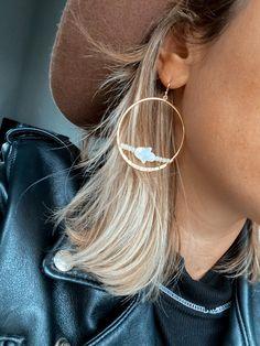Hamsa Hand Gold Earrings - Boho Statement Earrings - Mother of Pearl Drop Earrings - Sunstone Crystal Raw Healing Hoops