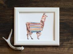Llama print- fine art print - animal illustration - Peru - hand painted - Peruvian textiles
