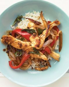 Chicken and Basil Stir-Fry, minus the onions i think it looks yummy!