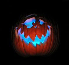 Use Glow Sticks to light your Pumpkin up with fun glowing color! - https://glowproducts.com/us/glowsticks