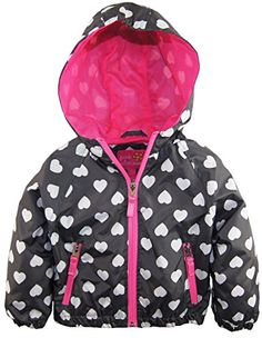 Pink Platinum Baby Girls All Over Heart Print Hooded Jacket Spring Coat Charcoal 36 Months -- Want additional info? Click on the image.