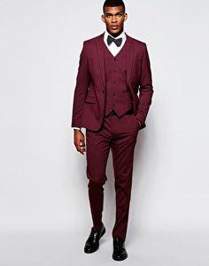 ASOS – Eng geschnittener Anzug in Burgunderrot