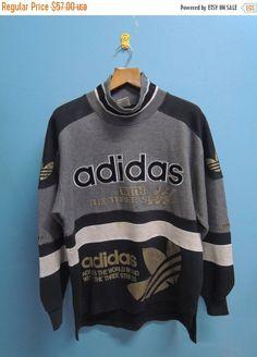 Discount 15% 90's Vintage Adidas Trefoil Big Logo Full Print Sport Sweatshirt Hip Hop Street Wear Size M-L
