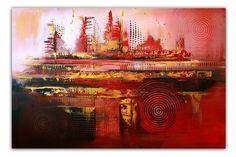 BURGSTALLER ORIGINAL XXL Gemälde Leinwand Bilder Abstrakte Malerei ROT GOLD
