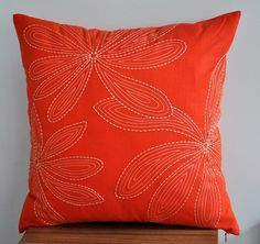 Items similar to Custom listing for Sandy - Orange Havana - Table Runner - Orange Linen with Beige Botanical Embroidery on Etsy Coral Pillows, Orange Throw Pillows, Diy Pillows, Accent Pillows, Orange Pillow Covers, Decorative Pillow Covers, Throw Pillow Covers, Peacock Blue Bedroom, Embroidery Flowers Pattern