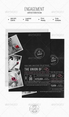 Engagement Invitation — Photoshop PSD #postcard #text effect • Available here → https://graphicriver.net/item/engagement-invitation/6266089?ref=pxcr