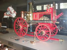 Stand Mason & Co was one of the two leading makers of fire fignting appliances. Introduced in 1883, horses towed the appliance to the scene and steam engine powered the pumps.