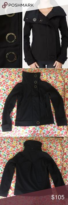 Like new rare Lululemon Bomber Jacket This jacket has only been worn once for a few hours. Excellent like new condition. Water resistant. 2-way stretch with soft fleece inner. Back pleat. Zip and button closure. Deep zipper pockets. Collar can be folded down or buttoned up for warmth. No PayPal or trades. lululemon athletica Jackets & Coats