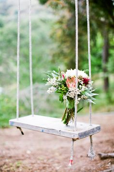 bouquet on a swing