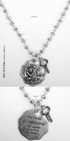 Two sided St. Christopher Vintage medallion. Vintage collage art paired with our marcasite key! Wear alone or combine with more charms to create an individualized gift for yourself of a friend. Each charm has a clip at the top that will easily attach to any of our necklace or bracelet chains! Pick Up Sticks Jewelry
