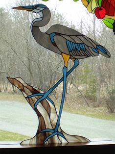 Image result for great blue heron stained glass