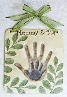 I may try this with both kids!  1/2 cup salt 1/2 cup flour  1/4 cup water  Mix together and roll. Do adult's hand first. Then bake at 100 for 3 hours. Paint and design as you like it.