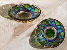RichanaDragon ||| Fantasy flowers (b). Glass bowl candle holders for night decor in Asian style. Glass plates with green and blue flower-like pattern. Hand painted stained glass.