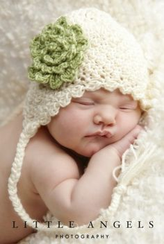 crochet earflap baby hat by darcy @leighann sweinhart you must teach me now.  I would love to make some of these!
