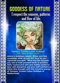 The perfect affirmation card for spring! I respect the seasons, patterns and flow of life... Goddess of Nature