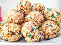 Funfetti Granola Bites - 2 1/4 cups old-fashioned rolled oats, 1/2 cup yellow cake mix (the dry cake mix), 1/2 cup light corn syrup (or honey), 1 tsp. vanilla, 1/2 cup sprinkles (more or less, depending on your addiction to sprinkles!)