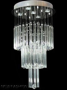 Modern crystal & glass rod Ceiling Light Pendant Lamp Chandelier