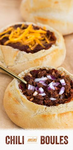 Chili Mini Boules: Chili is even more comforting when you serve it in edible California Goldminer Sourdough Mini Boules! Just hollow them out, fill and top with your favorite fixins. A great idea for a fall dinner party or tailgate with friends.