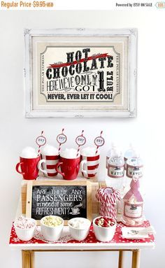 Having a Christmas Party? Why You Should Decorate Your Home Quinn Georgina quinngeorgina Christmas season Polar Express Hot Chocolate Pack … Polar Express Party, Polar Express Christmas Party, Ward Christmas Party, Christmas Time, Christmas Crafts, Christmas Kitchen, The Polar Express, Polar Express Crafts, Xmas Party Ideas