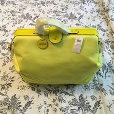 Kate Spade SATURDAY Satchel HOST PICK 🎉 Neon yellow w/ shoulder strap. Never used. Taken out of of packaging only to take picture. Canvas Body. kate spade Bags Satchels