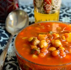 "Moroccan Style Vegetable Soup (""Harira"") [Note: Don't use canned goods] http://mayihavethatrecipe.com/2013/01/07/meatless-monday-morrocan-style-vegetable-soup-harira/"