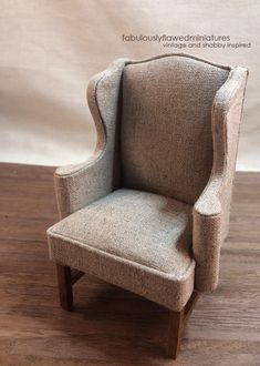 Fabulously Flawed Miniatures: Natural Linen Wing Chairs...