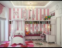 Little Girls Bedroom Ideas in Modern Home Interior: White And Pink Little Girls Bedroom Ideas Small Canopy Bed Curtai ~ stepinit.com Bedroom Designs Inspiration