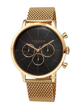 Akribos XXIV Men's Sunray Stainless Steel Mesh Watch by TWI Watches on @HauteLook