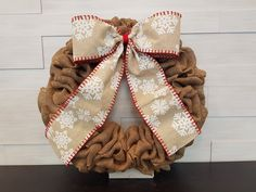 Holiday Wreath. . . #goldenforrest #goldenforrestscreations #burlapwreath #burlap #wreath #wreathidea #bow #ribbon #snowflakes #seasonaldecor #holidaydecor #doordecor #christmasdecor Holiday Wreaths, Christmas Decorations, Christmas Stockings, Christmas Holidays, Seasonal Decor, Holiday Decor, Burlap Wreath, Snowflakes, Ribbon