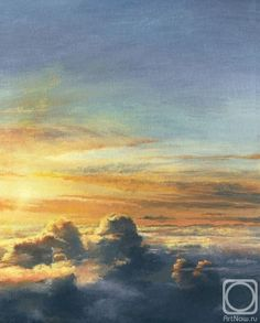 Painting «Fullcolor Sunset Over Clouds Sky And Clouds, Painting, Sunset, Art, Painting Art, Paintings, Kunst, Sunsets, Paint
