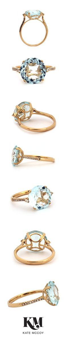 #Aquamarine ring set in a delicate basket of yellow gold, shouldered by petite #diamonds.