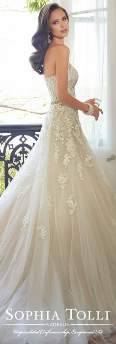 The Sophia Tolli Spring 2015 Wedding Dress Collection - Style No. Y11553 Prinia www.sophiatolli.com #weddingdresses