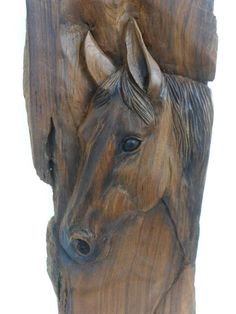 Natural Teak Wood Carving Horse Head Wooden by WoodCarvingArt