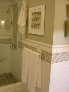 """Subway Tile with """"mosaic trim"""" for kids bathroom."""