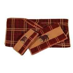 HiEnd Accents Embroidered Bear 3 Piece Bath Towel Set - TL5110-OS-ST