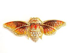 Egyptian Cicada Moth Crystal Rhinestone Enamel Paint Golden Tone Bug Pin Brooch Alilang. $12.99