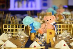 Riley's Royal Prince Themed Party – Table centerpiece Party Table Centerpieces, Table Decorations, Party Themes, Party Ideas, Royal Prince, 1st Birthdays, Fiesta Centerpieces, 1st Year Birthday, Ideas Party