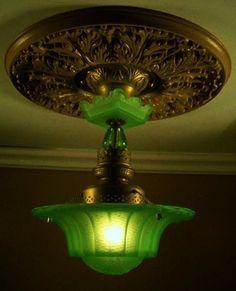 Super RARE Vaseline Glass Art Deco Ceiling Light Fixture Chandelier - wow, imagine that with a UV bulb! Antique Lamps, Antique Lighting, Vintage Lamps, Vintage Glassware, Antique Light Fixtures, Vintage Art, Furniture Top View, Art Deco Furniture, Vintage Furniture