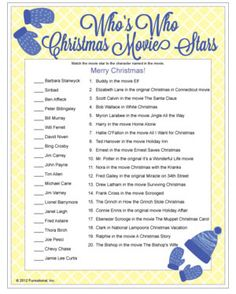 Christmas Movie Trivia - matching actors to their role in famous Christmas movies, printable Christmas games.