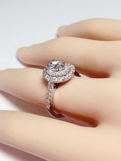 1.00CT Diamond Oval Shape Double Halo Engagement Ring