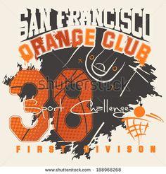 Basketball Varsity t-shirt. Vintage vector artwork. - stock vector
