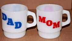 Vintage 1960's 70's Coffee Cup MOM & DAD Anchor Hocking Oven Proof Milk Glass  #AnchorHocking