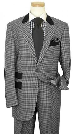 Steven Land Black / White Hundstooth Design With Black Elbow Patches Suit SL1050
