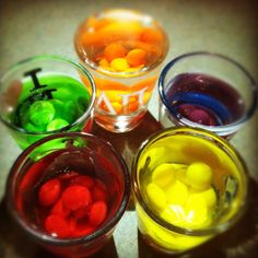 skittle shots for beast mode- Wild Berry flavored skittles are the best (that's what I used). They make great jello shots too!