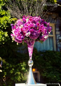 Tall purple toned centerpiece