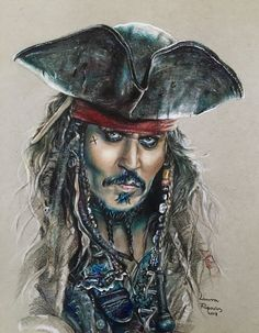 Colored pencil drawing of Johnny Depp as Captain Jack Sparrow from the Pirates of the Caribbean by Laura Filipovics 🖤☠️🌊