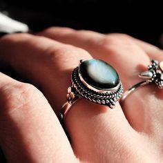 Little Luna Black Pearl Sterling Silver Boho Ring